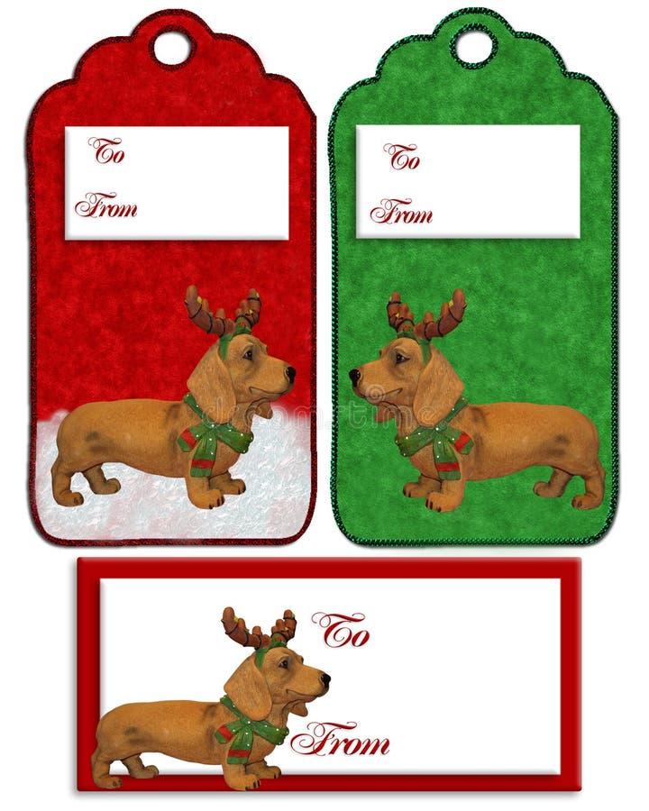 Christmas labels Dachshund dog vector illustration