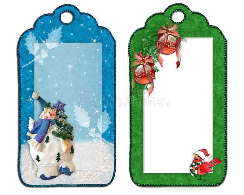 Christmas labels decorations isolated stock illustration