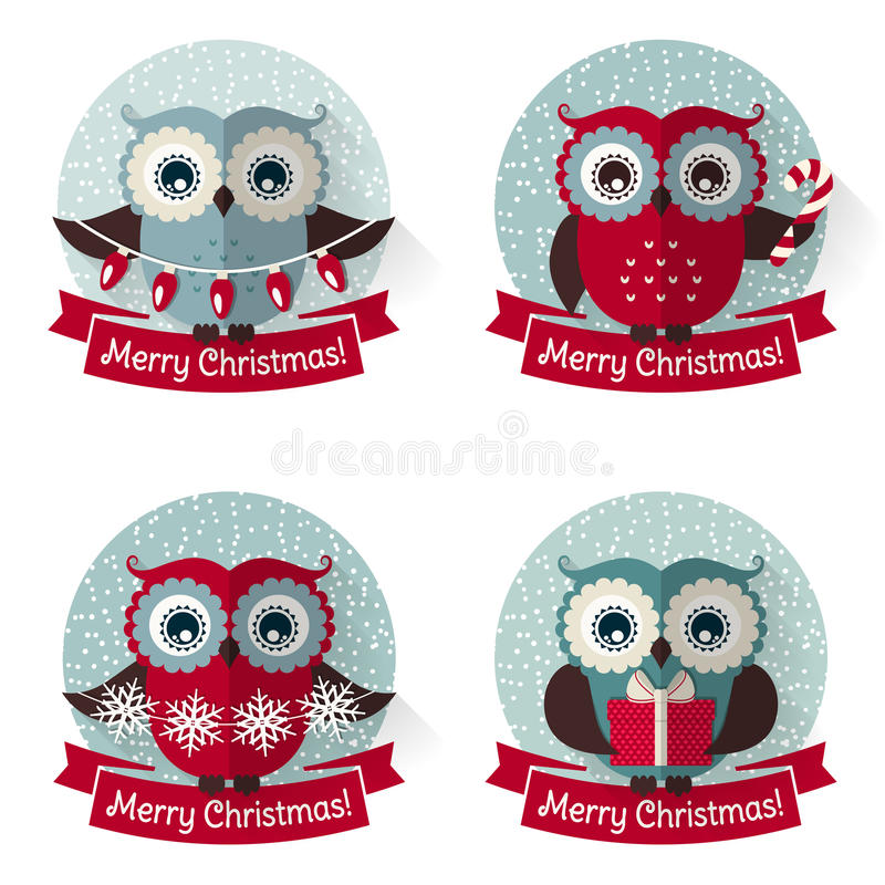 Christmas labels with owls and ribbons. Vector set. stock illustration