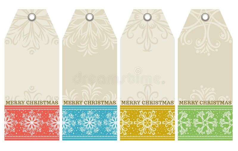 Christmas labels with snowflakes and wishes text, royalty free illustration