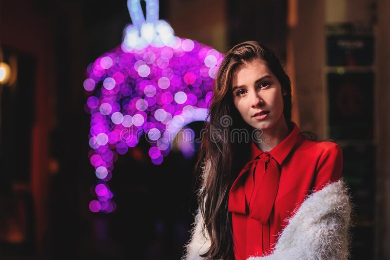 Christmas lady in red stock photography