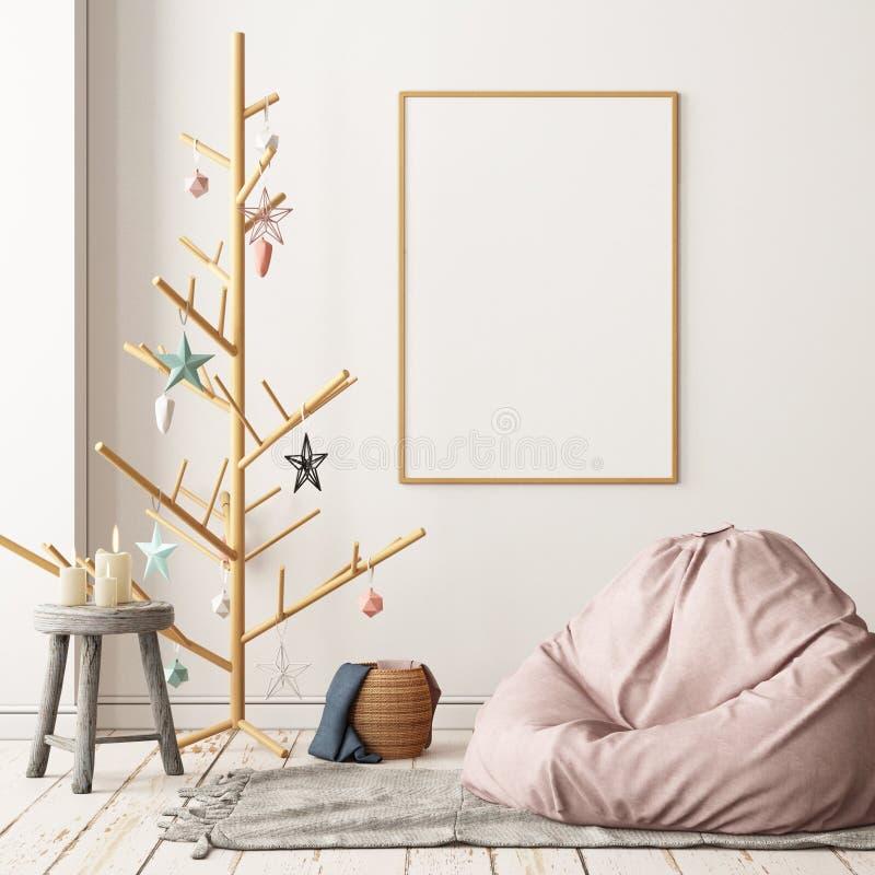 Christmas lag-style interior Mockup Scandinavian interior with a hanging chair. stock photos