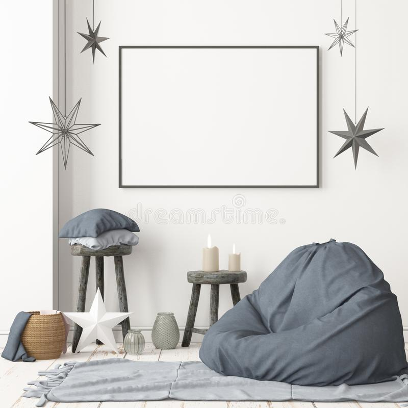 Christmas lag-style interior Mockup Scandinavian interior with a hanging chair. stock photo