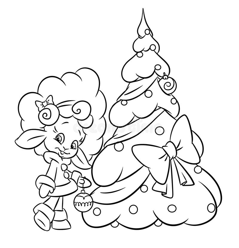 Download Christmas Lamb Girl Tree Coloring Page Stock Illustration - Illustration: 33972384