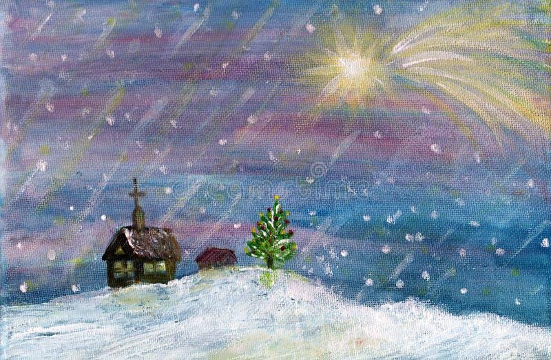 Christmas landscape stock illustration