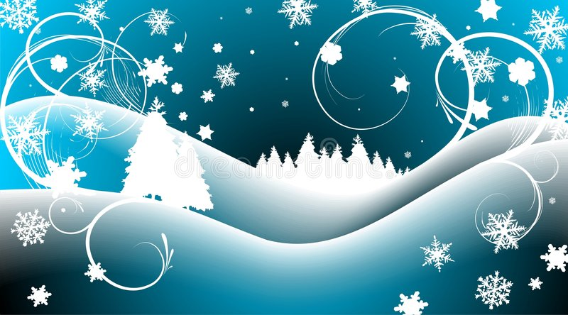 Christmas landscape. Cold winter landscape with christmas tree and snowflakes royalty free illustration