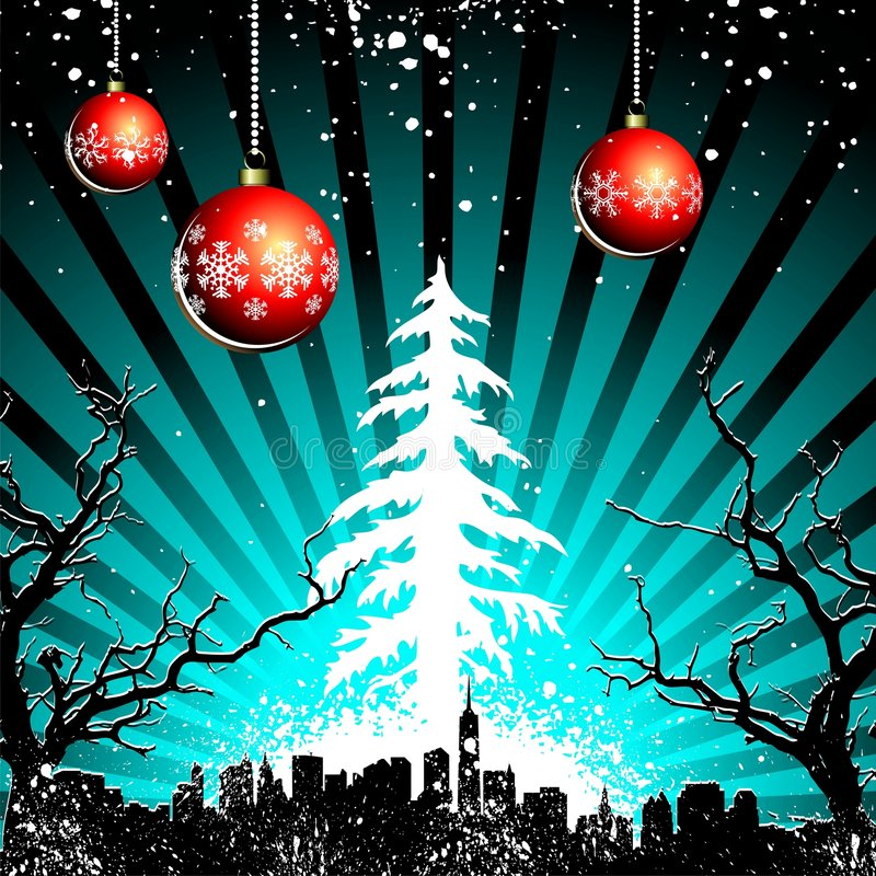 Christmas landscape. Cold christmas landscape with snowflakes and city stock illustration