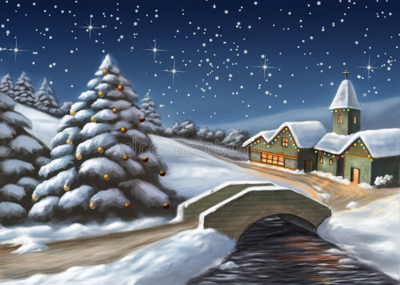 Download Christmas landscape stock illustration. Illustration of horizon - 6734529