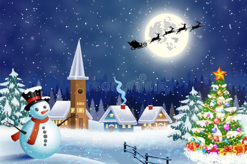 Snowy village landscape royalty free illustration