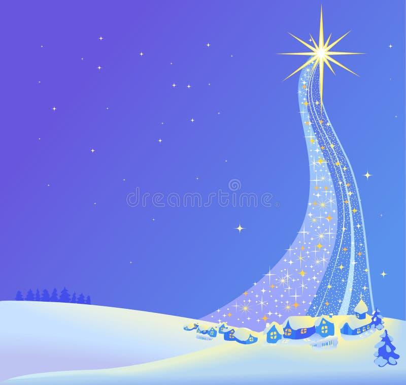 Christmas landscape illustration of the star stock illustration