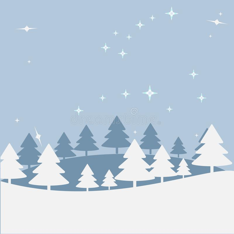 Christmas landscape at night. Postal map with a hill, trees, star sky. Greeting or postal map, paper of Art of vectorial vector illustration