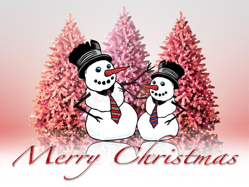 Christmas landscape with  snowmen