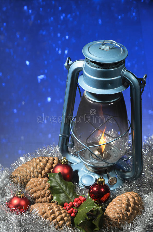 Download Christmas Lantern stock image. Image of holly, blue, defosussed - 27689731