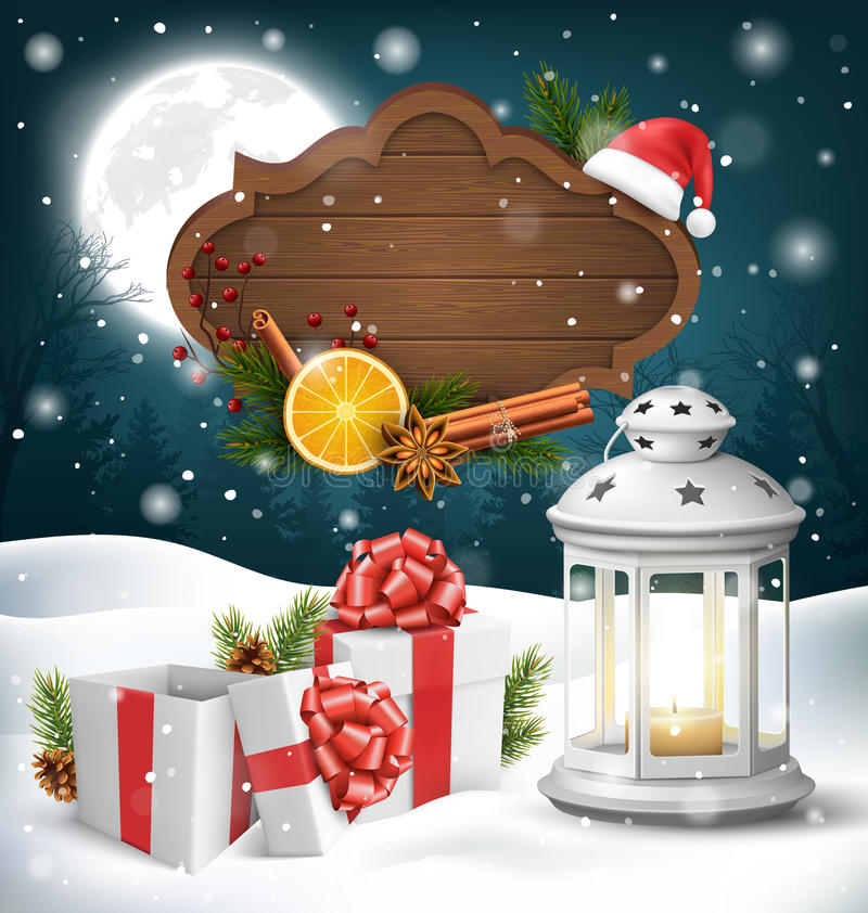 Christmas Lantern with Gift Boxes Wooden Frame and Spices on Dar. K Blue Background royalty free illustration