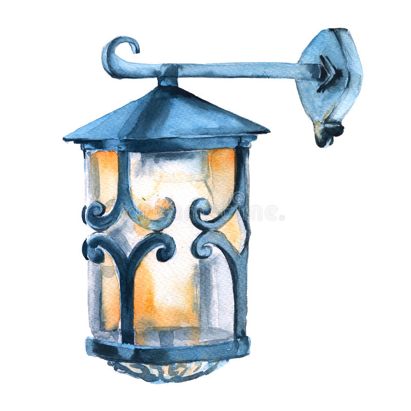Christmas lantern. Isolated on a white background. Watercolor illustration. royalty free illustration