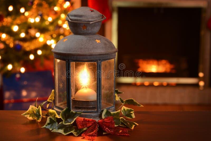 Christmas lantern stock photo