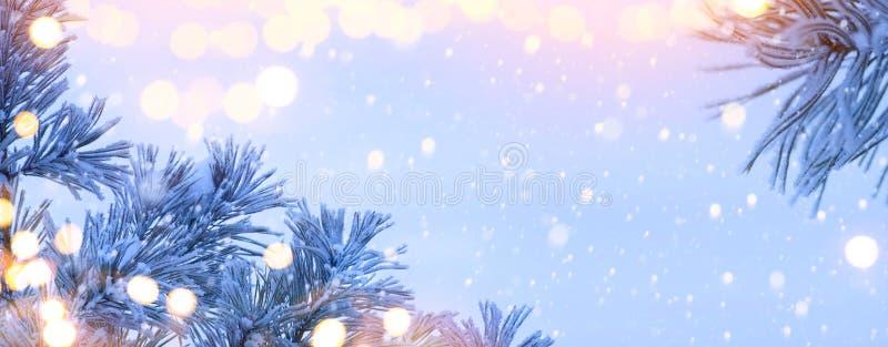 Art Christmas Lantern. Christmas and New Year holidays background with Christmas Tree and holiday light, winter season stock photo