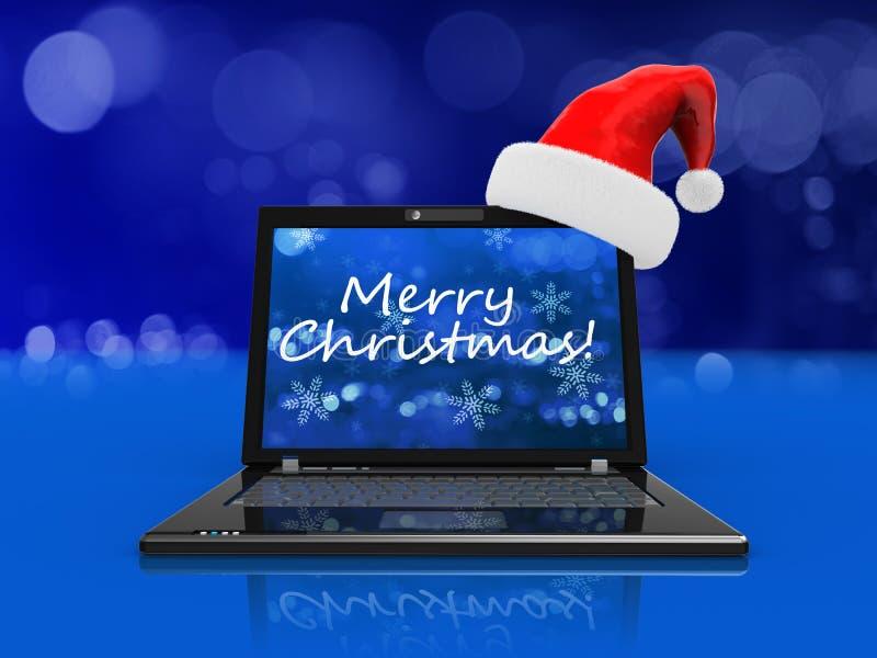 Christmas laptop vector illustration