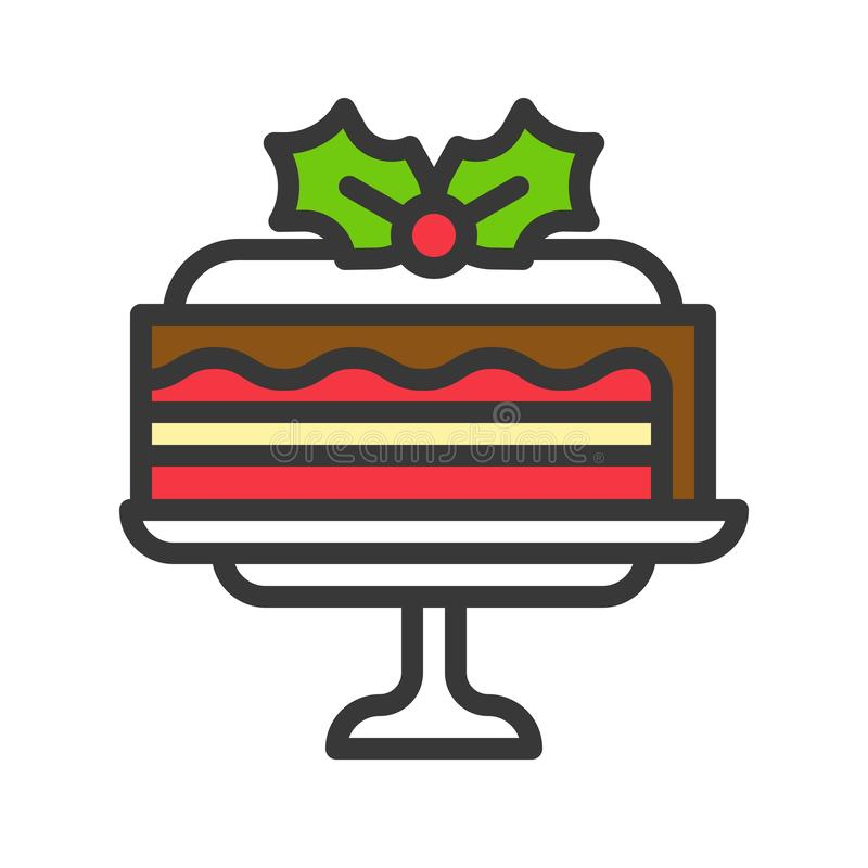 Christmas layered cake icon decoration with mistletoe. editable. Outline vector illustration