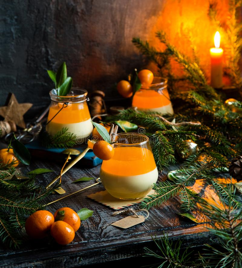Free Christmas Layered Dessert Creamy Panna Cotta, Jelly Or Souffle In Glasses Stock Image - 163471421