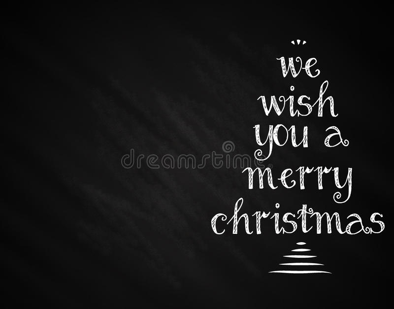 Christmas Layout. Christmas themed illustration with chalky words forming tree shape on chalkboard background royalty free illustration