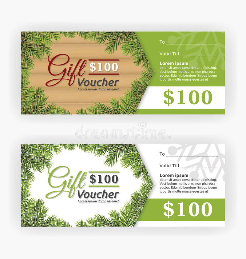 Christmas leaves border theme, gift voucher certificate royalty free illustration