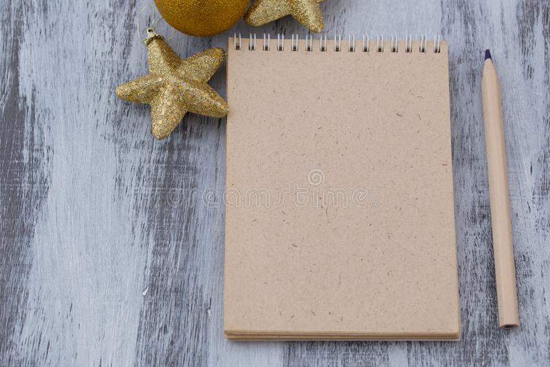 The Christmas letter and pencil stock images
