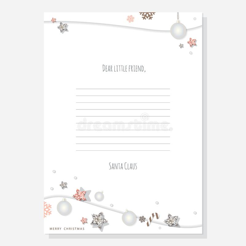 Christmas letter from Santa Claus template A4. Decorated with glitter stars and silver balls. royalty free illustration