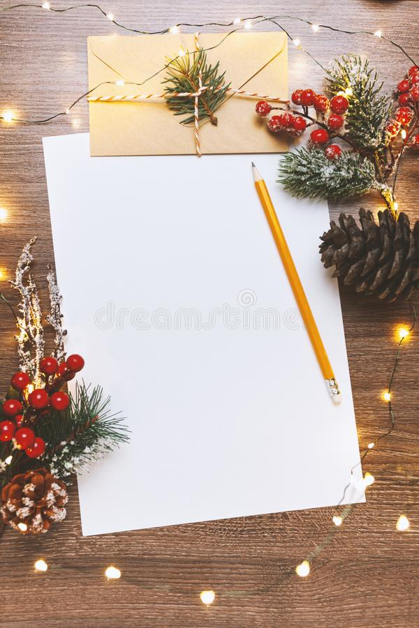 Christmas letter for Santa Claus, xmas traditional childrens mail to North Pole. Dear Santa.  stock photos