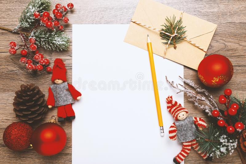 Christmas letter for Santa Claus, xmas traditional childrens mail to North Pole. Dear Santa.  royalty free stock image