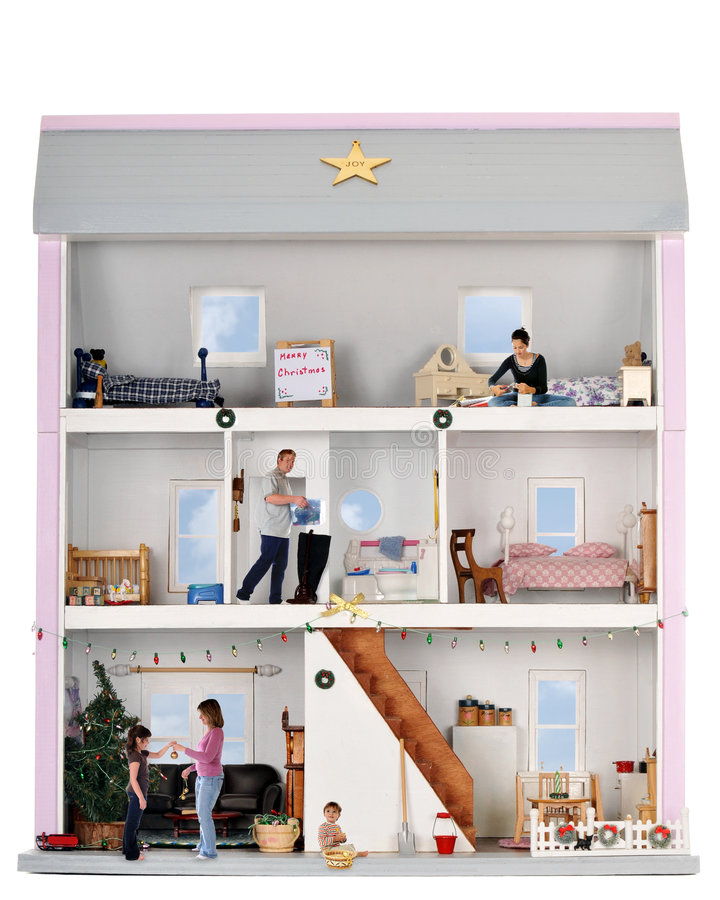 Christmas Life in a Doll House royalty free stock photo