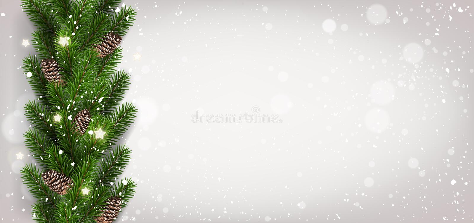 Christmas light background with garland of Christmas tree branches, snowflakes, stars. Xmas and New Year card. Vector vector illustration