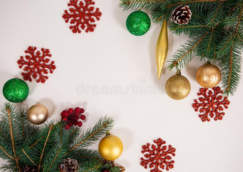 christmas light background tree decoration white wallpaper new year s composition copy text space flat 198030126