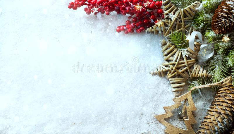 Christmas Light background. Xmas tree with snow decorated with g royalty free stock images