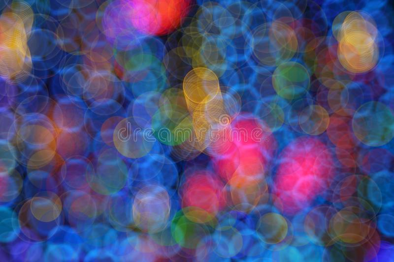 Christmas light bokeh background. Multicolor bubble bokeh, circle background stock photo