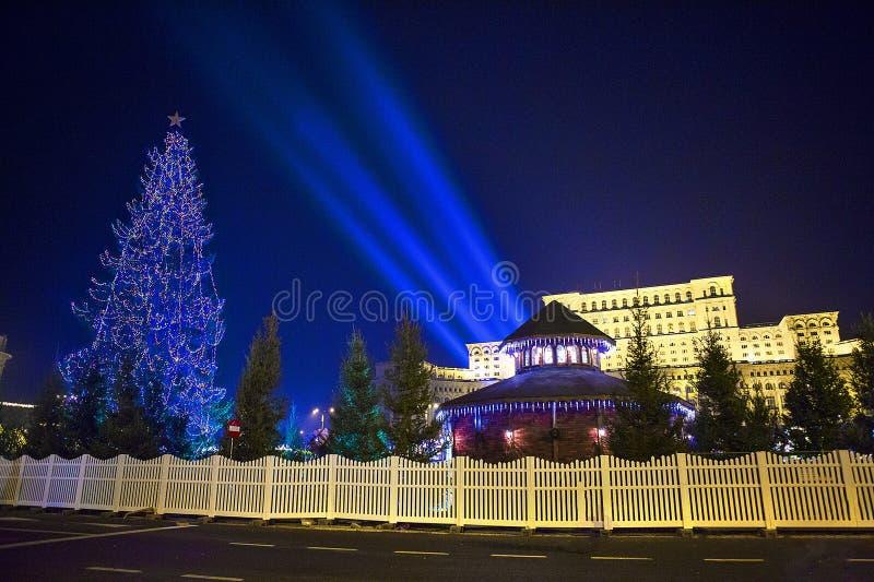 Christmas light - Bucharest House of Parliament. Bucharest House of Parliament / House of People stock photo