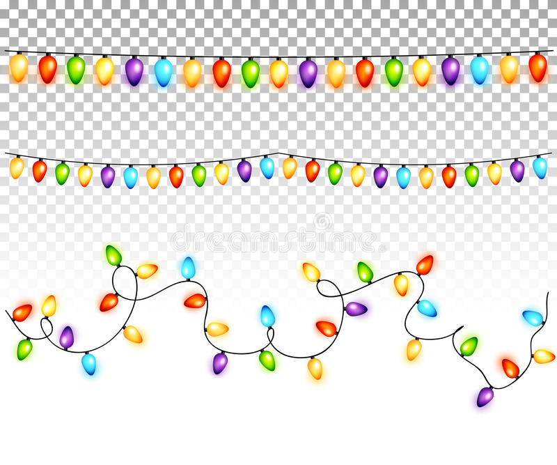 Christmas light bulbs garlands on transparent background vector royalty free illustration
