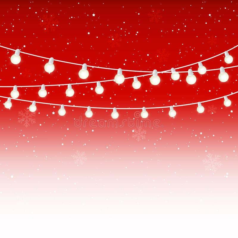 Christmas light bulbs on starry red vector illustration