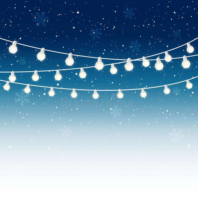 Christmas light bulbs on starry sky stock illustration
