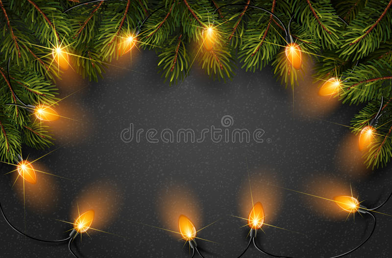 Christmas light with fir branches stock illustration