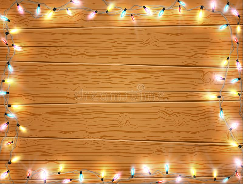 Christmas light frame, christmas banner on wooden background vector illustration