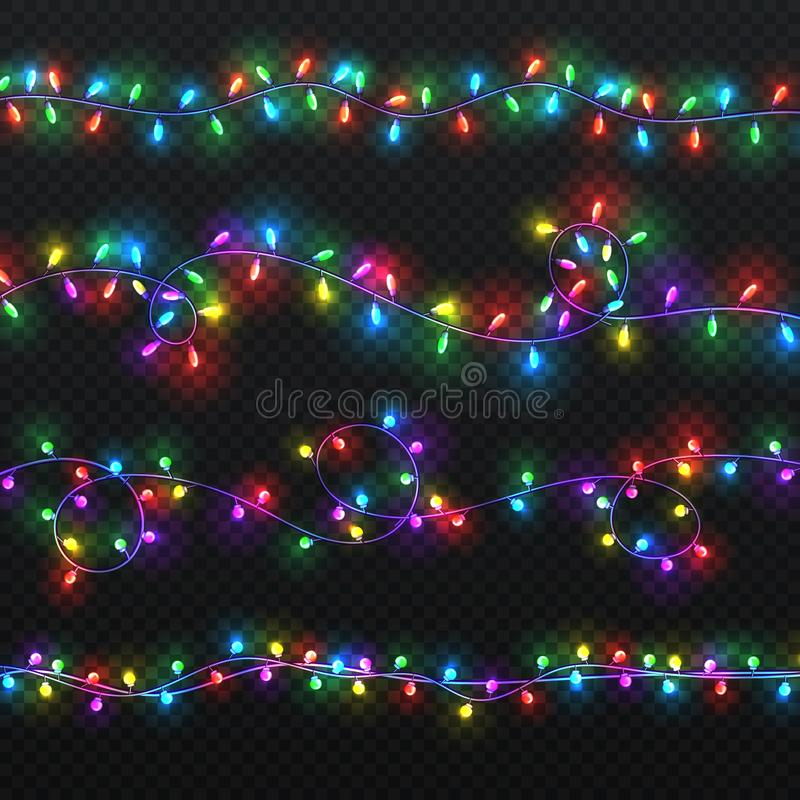 Christmas light garlands. Xmas vector decoration with colorful lightbulbs isolated stock illustration