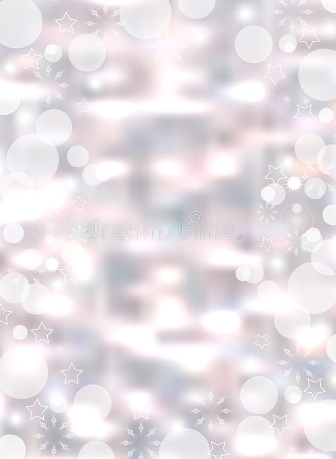 Christmas light vertical background. Holiday glowing backdrop blurred bokeh. Vector royalty free illustration