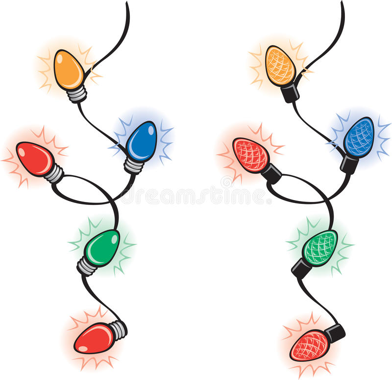 Christmas Lights. Illustration of a string of old fashioned Christmas lights and a string of energy efficient LED Christmas lights. These sections can be stock illustration