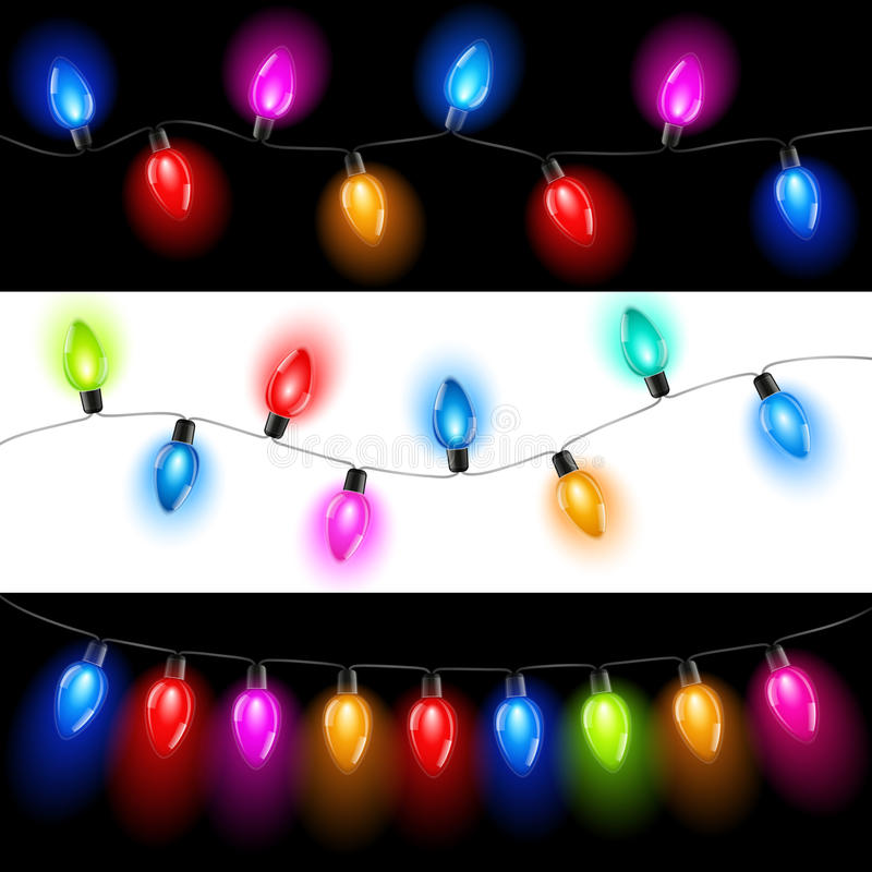 Christmas lights. Ð¡ollection of Christmas lights on a white and black background royalty free illustration