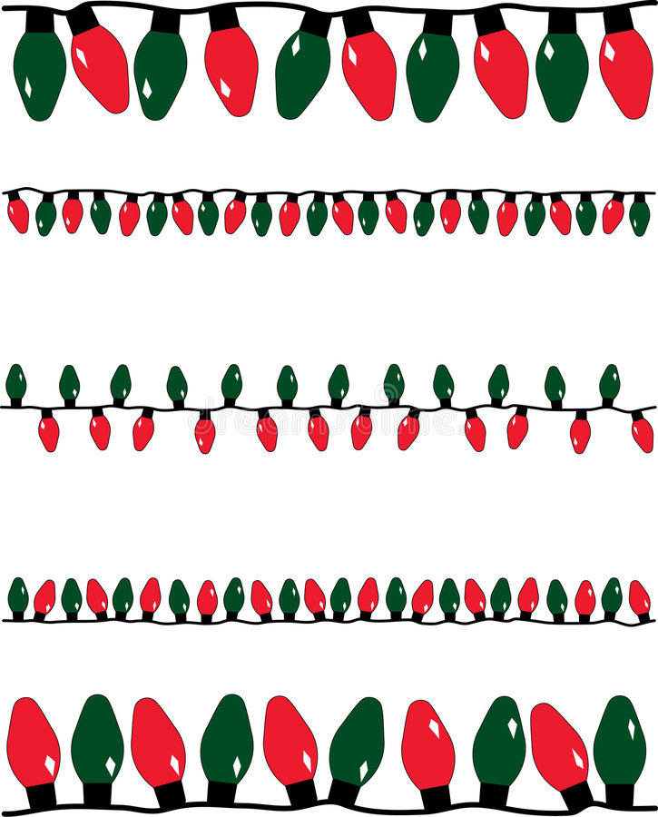 Christmas Lights. A vector illustration of several strands of red and green christmas lights of different sizes stock illustration