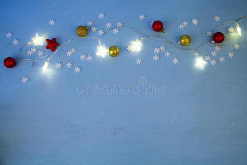 Christmas lights and balls royalty free stock images