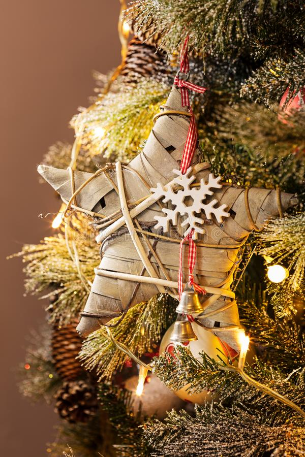 Christmas lights, baubles, stars and other seasonal decorations stock images