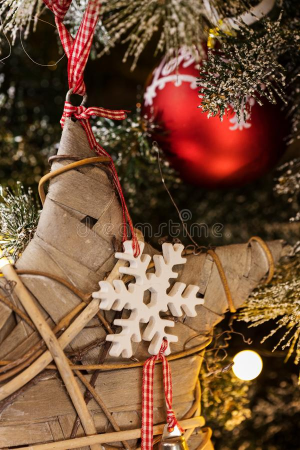 Christmas lights, baubles, stars and other seasonal decorations stock photo