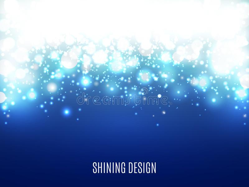 Christmas lights on blue background. Snow and particles with bokeh. Magic abstract backdrop. Shining design for poster vector illustration